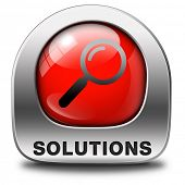 solutions solve problems and search and find a solution red icon with magnifying glass button or sig