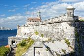 stock photo of el morro castle  - The fortress and lighthouse of El Morro in the bay of Havana - JPG