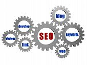 Seo And Conceptual Words In Silver Grey Gears