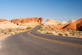 image of valley fire  - Desert road through sandstone Valley of Fire State Park - JPG