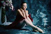 pic of bend over  - Beautiful bellet dancer posing at studio over vintage background - JPG
