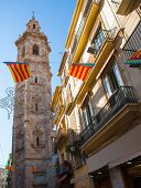 Valencia Santa Catalina church tower view from Calle la Paz in spain