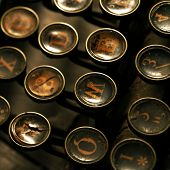 stock photo of old vintage typewriter  - Close up of vintage old typewriter keys - JPG
