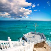 Benidorm balcon del Mediterraneo and sea from white balustrade Alicante Spain