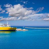 Denia Alicante cruise Ferry boat in Port in sunny day at spain