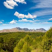 Calpe Alicante sierra de Bernia y Ferrer mountains and Mediterranean pine forest Spain