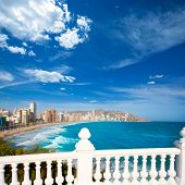 Benidorm balcon del Mediterraneo Mediterranean sea white balustrade in Alicante Spain