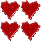 Valentine Love Hearts With Names: Molly, Sabrina, Brittney, Cynthia