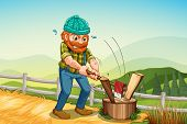 Illustration of a man chopping the log above the stump