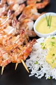 foto of tiger prawn  - Skewered Tiger Prawns with a portion of fresh Rice - JPG