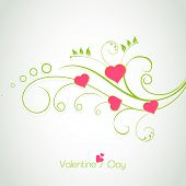 Happy Valentines Day celebration concept with beautiful floral design with hearts on grey background, can be use as flyer, banner or poster.