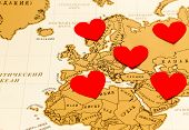 Hearts and world map