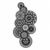 Black white and grey abstract indian floral geometric mandalas vector illustration