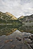 Alpine Mountain Lake And Reflection