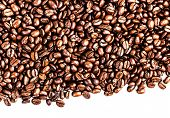 Roasted Coffee Beans Background Texture Isolated On White Background Frame