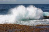 Waves Break Along Rocky Shore