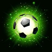 Vector illustration of a soccer ball explosion on green background