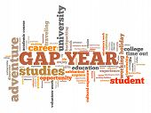picture of gap  - Gap year holiday issues and concepts word cloud illustration - JPG