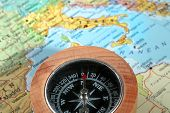 Travel Destination Italy, Compass With A Map On The Background