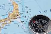 Travel Destination Tokyo Japan, Map With Compass