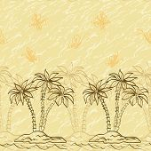 Seamless pattern, palm trees and butterflies contours