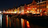 Nyhavn Harbor In Night, Copenhagen, Denmark
