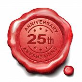 stock photo of credential  - 25th anniversary red wax seal over white background - JPG