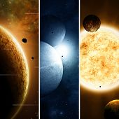 stock photo of imaginary  - Imaginary space and astronomy banners with planets and moons - JPG