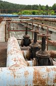 Rusty Taps And Pipes. Water Treatment Plant