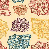 Seamless pattern with decorative seashells
