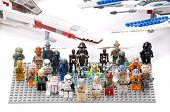 Ankara, Turkey - July 07, 2012: Lego Star Wars minifigures in front of classic X-wing starfighter