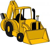 stock photo of backhoe  - This illustration depicts a yellow construction backhoe - JPG