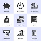 Set of black finance and money icons.