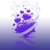 Purple Heart on glass Reflection