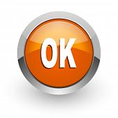 ok orange glossy web icon