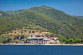 Xenophontor monastery, scenic medieval Orthodox monastery at Mount Athos, Agion Oros (Holy Mountain),  Greece.