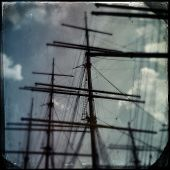 Instagram filtered image of sailing ship masts - pirate ship