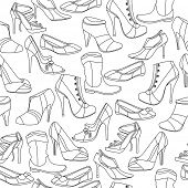 Black-and-white contour  seamless pattern with different shoes