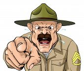 stock photo of yell  - An illustration of a cartoon angry boot camp drill sergeant character - JPG