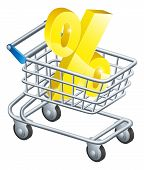 picture of apr  - Percentage trolley concept of percent sign in a supermarket shopping cart or trolley shopping for best APR or mortgage rate or loan etc - JPG