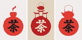 stock photo of teapot  - Three banners with the Chinese character for tea and cups and teapot - JPG