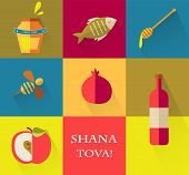picture of pot gold  - Set of icons for Jewish holiday Rosh Hashana  - JPG