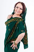 European Girl In Green Indian Saree