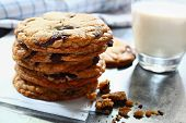 Chocolate chips cookies with milk