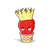 spooky skull cupcake cartoon