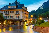 HOHENSCHWANGAU, GERMANY - 19 JUNE 2014: Hotel Muller in Hohenschwangau village at Neuschwanstein Cas