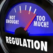 Regulations gauge measuring the amount of regulatory activity in an indsutry, with needle rising fro