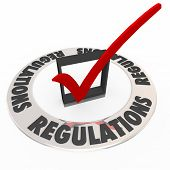 Regulations in a ring around a check mark and box approving or confirming that rules, guidelines, la