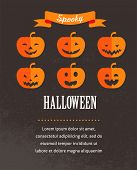 Halloween cute poster with pumpkins. Vector illustration and invitation, card, banner background