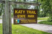 PORTLAND, MO, USA - JULY 12, 2014: Welcome sign for Katy Trail State Park. The park is the nation's